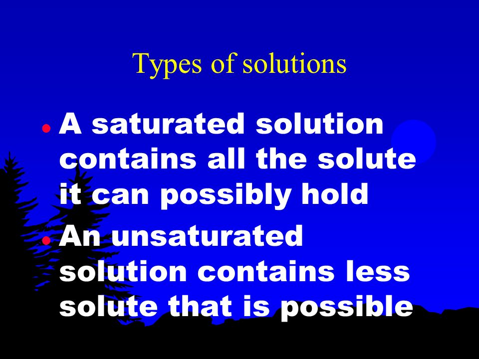 Types of solutions A saturated solution contains all the solute it can possibly hold.