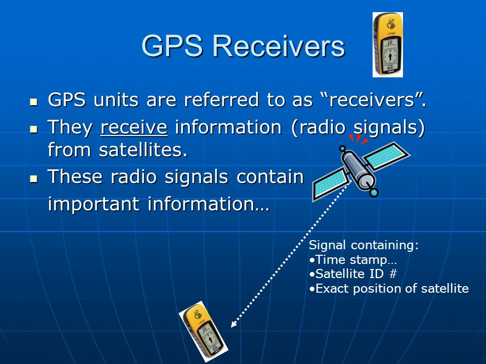 GPS Receivers GPS units are referred to as receivers .