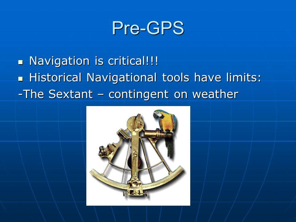 Pre-GPS Navigation is critical!!!