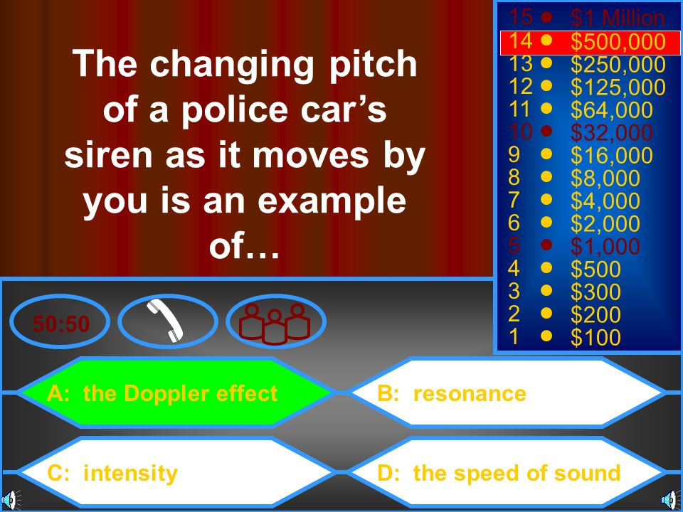 15 $1 Million. 14. $500,000. The changing pitch of a police car's siren as it moves by you is an example of…