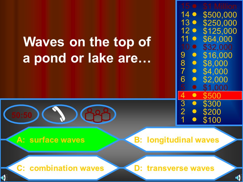 Waves on the top of a pond or lake are…