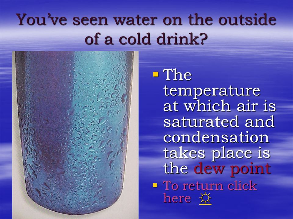 You've seen water on the outside of a cold drink