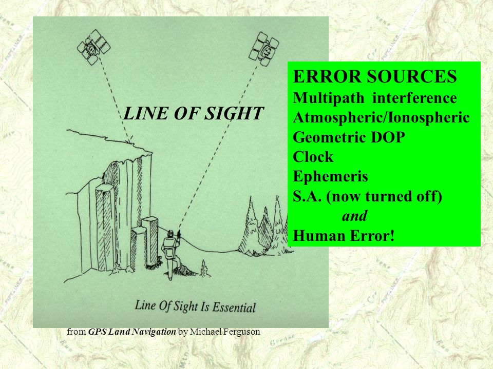 ERROR SOURCES Multipath interference Atmospheric/Ionospheric Geometric DOP Clock Ephemeris S.A. (now turned off) and Human Error!