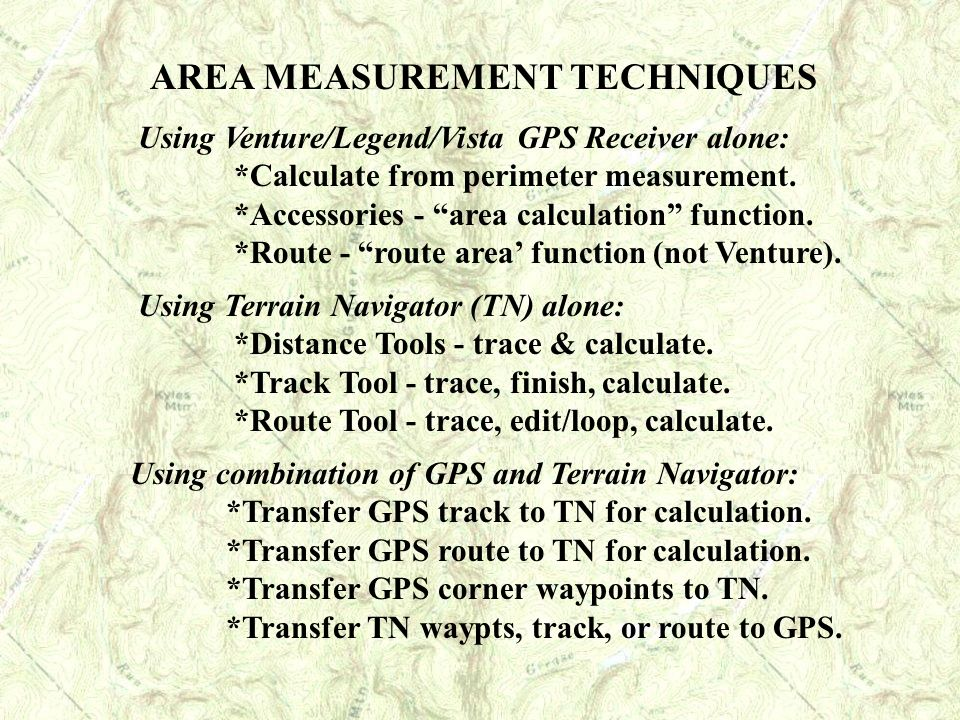 AREA MEASUREMENT TECHNIQUES