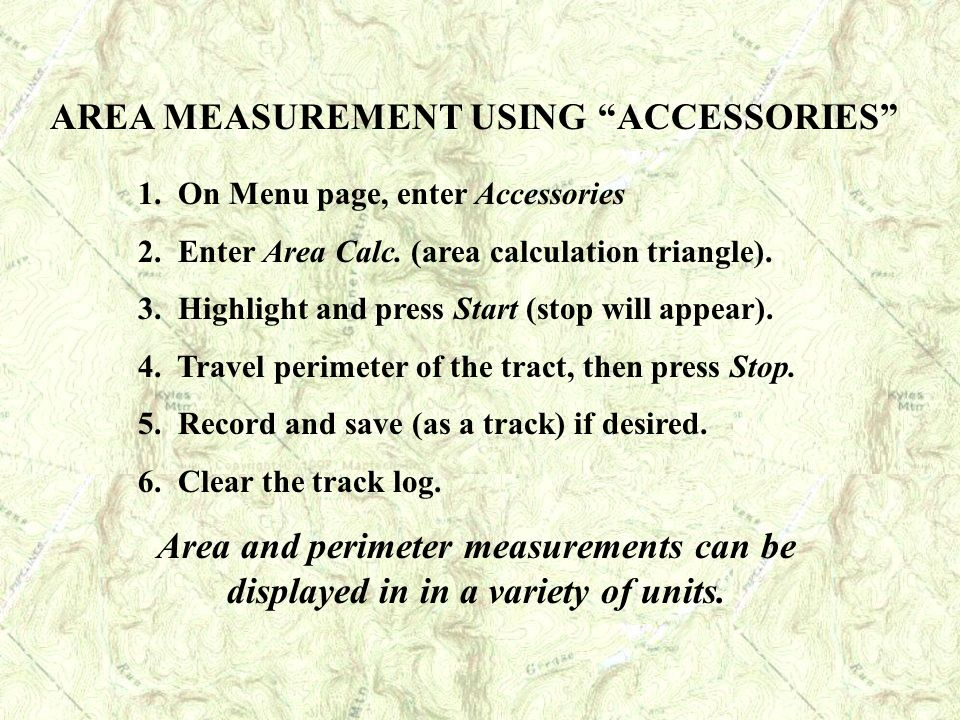 AREA MEASUREMENT USING ACCESSORIES
