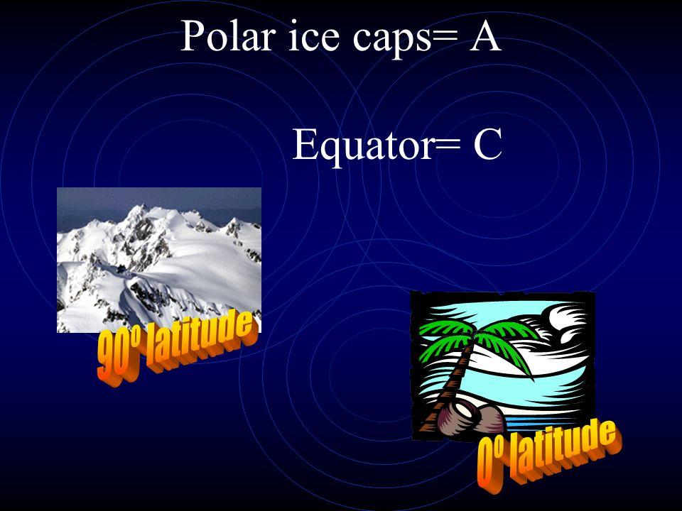 Polar ice caps= A Equator= C