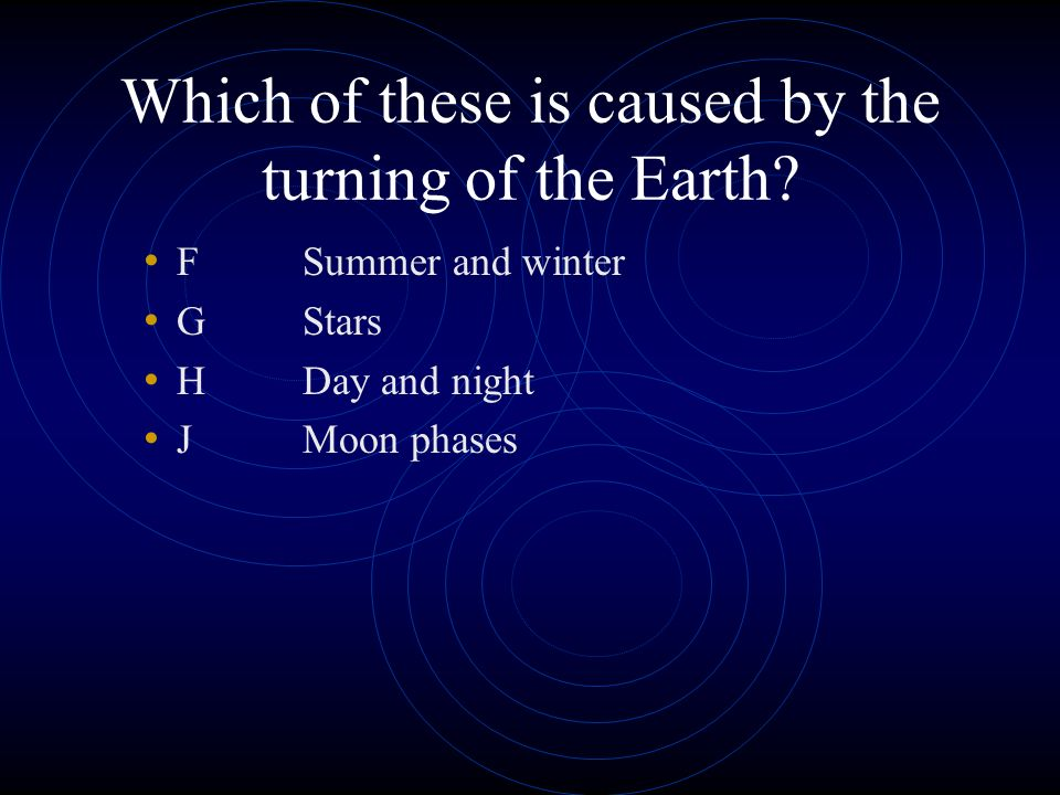 Which of these is caused by the turning of the Earth