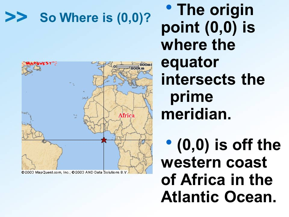 (0,0) is off the western coast of Africa in the Atlantic Ocean.