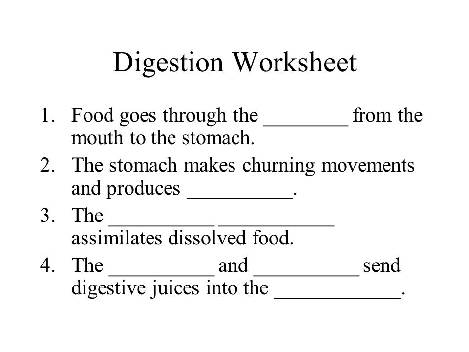Digestion Worksheet Food goes through the ________ from the mouth to the stomach. The stomach makes churning movements and produces __________.