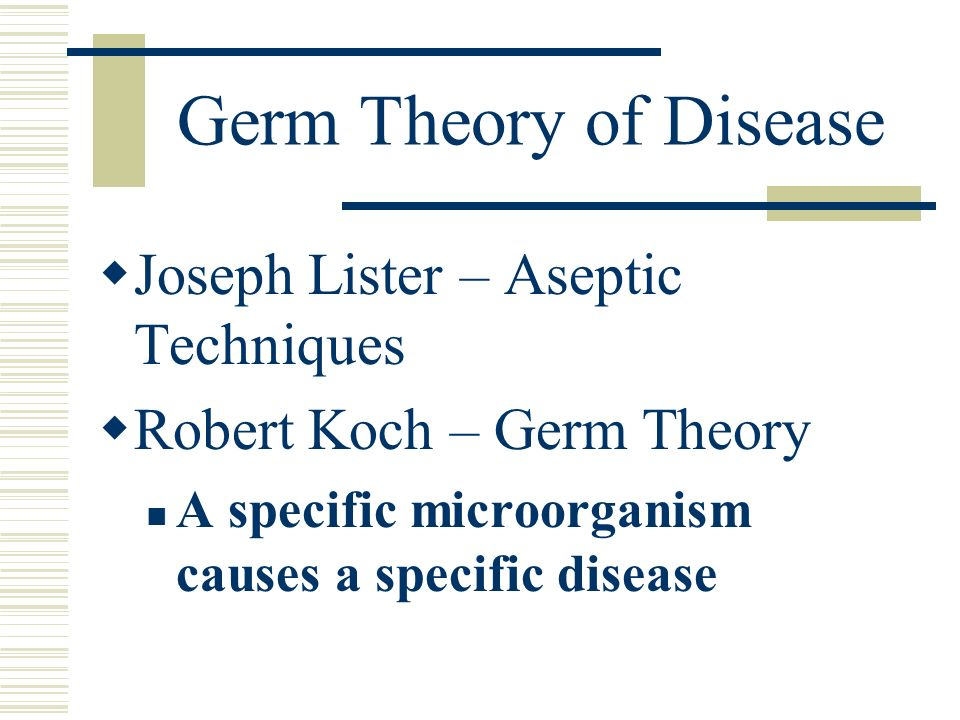 Germ Theory of Disease Joseph Lister – Aseptic Techniques