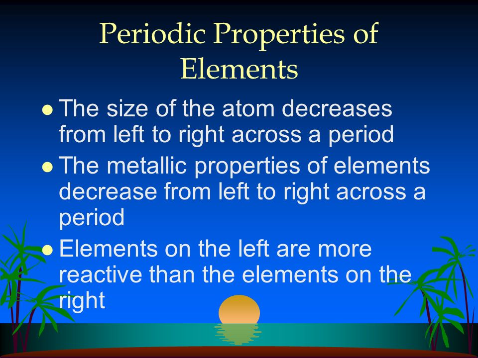 Periodic Properties of Elements