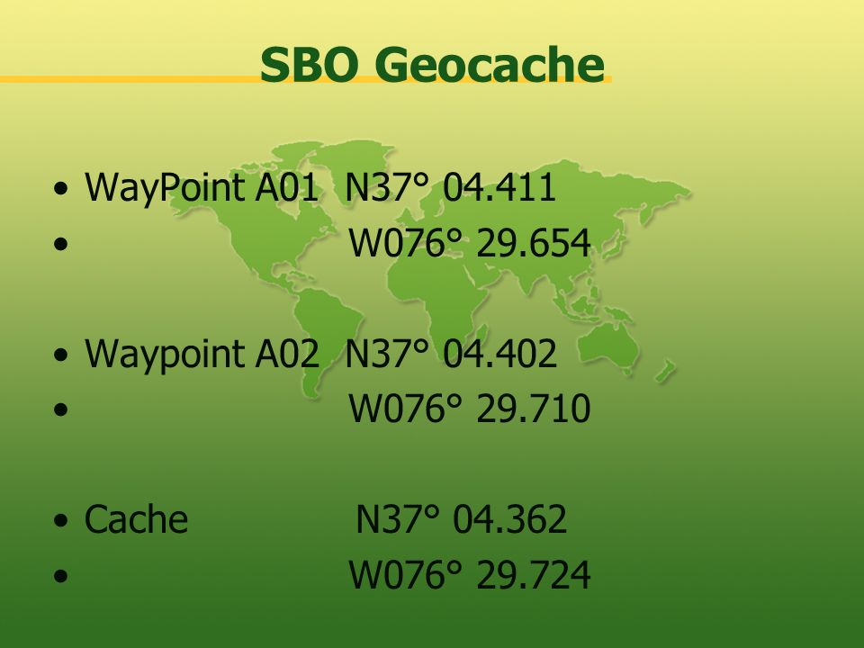 SBO Geocache WayPoint A01 N37° 04.411 W076° 29.654
