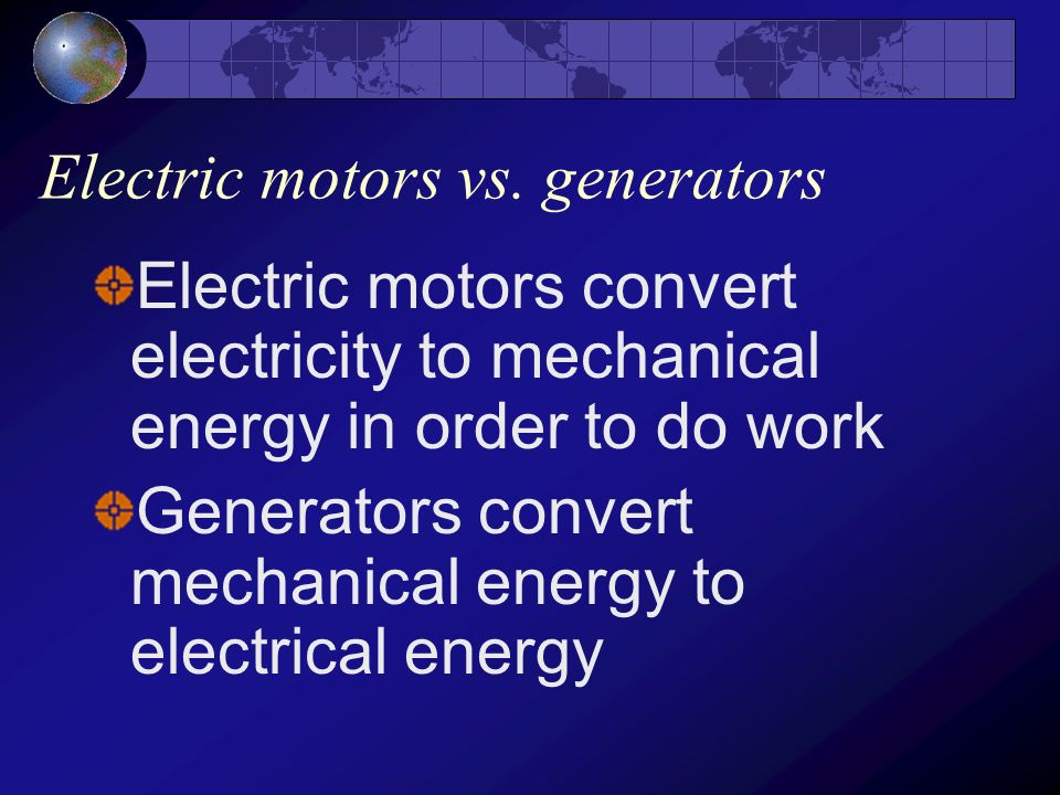 Electric motors vs. generators