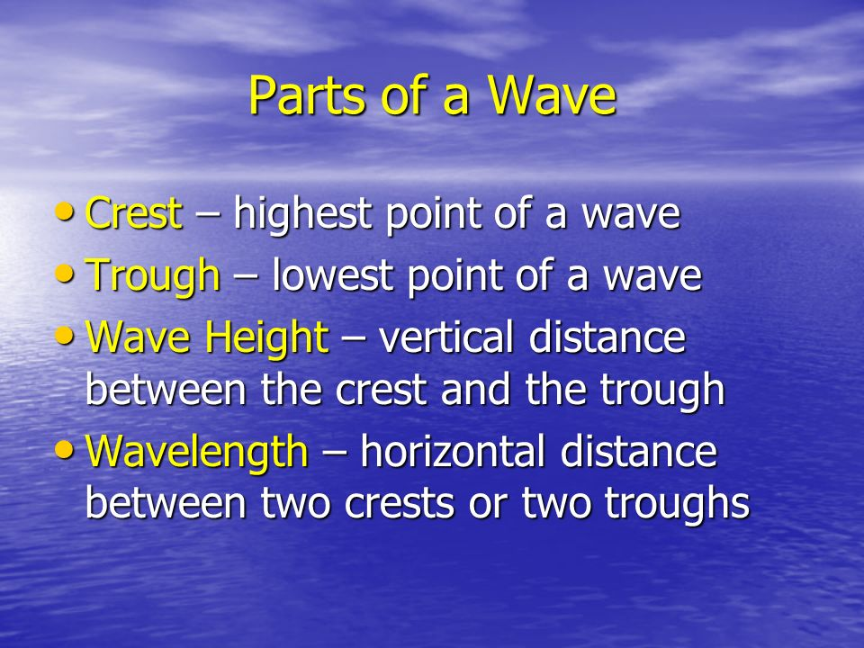 Parts of a Wave Crest – highest point of a wave