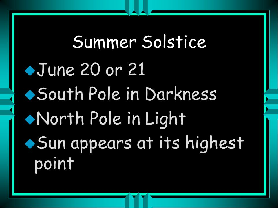 Summer Solstice June 20 or 21. South Pole in Darkness.