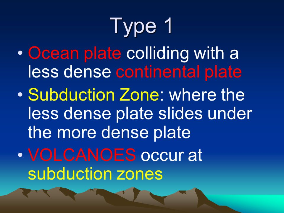 Type 1 Ocean plate colliding with a less dense continental plate