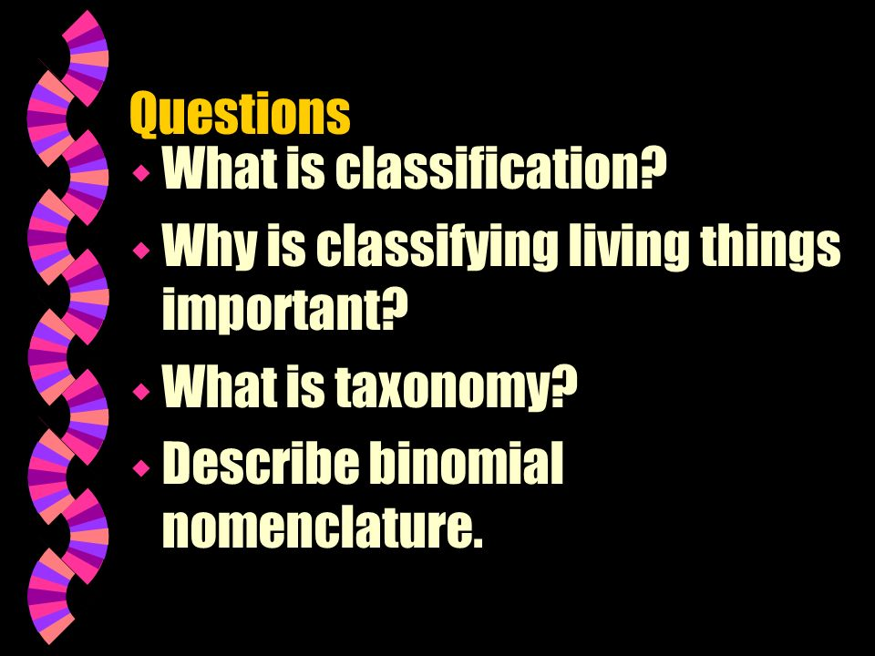 Questions What is classification. Why is classifying living things important.