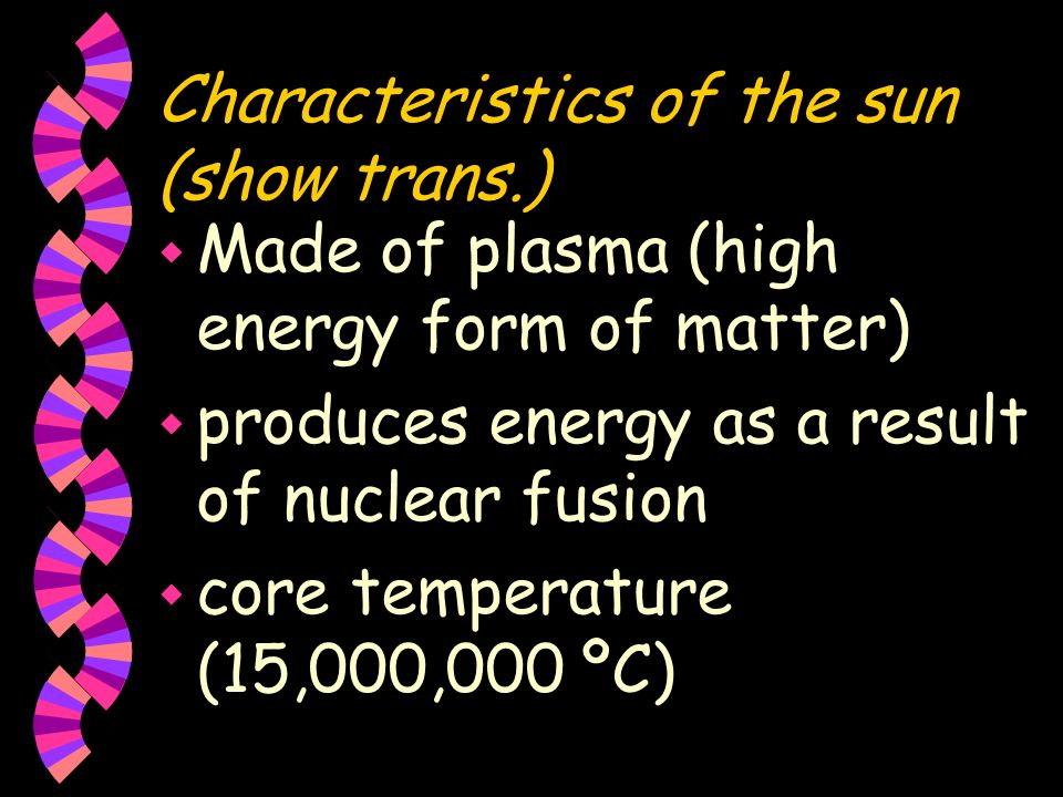 Characteristics of the sun (show trans.)