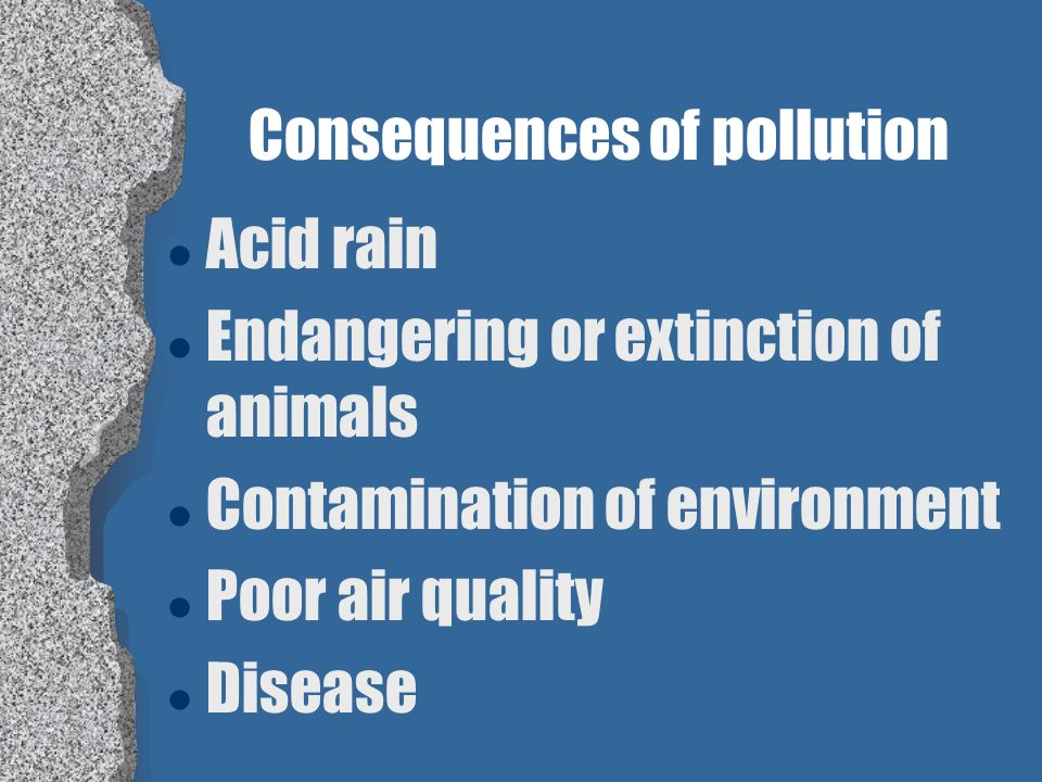 Consequences of pollution