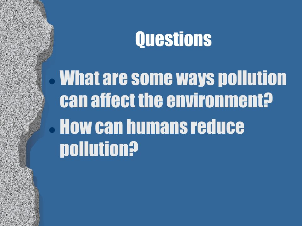 Questions What are some ways pollution can affect the environment How can humans reduce pollution