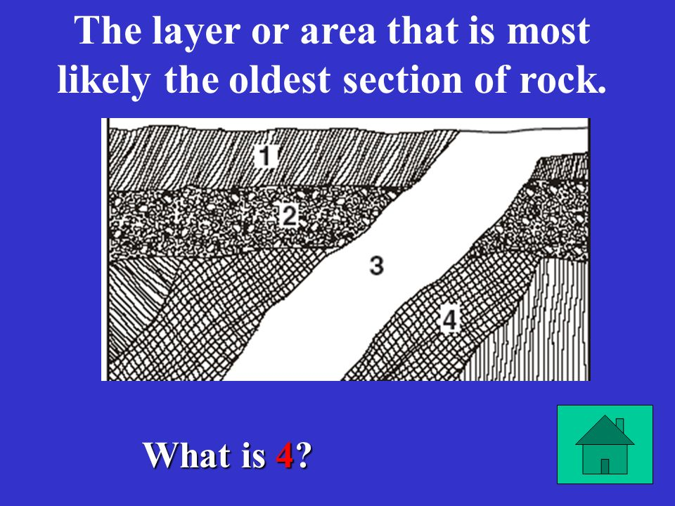 The layer or area that is most likely the oldest section of rock.