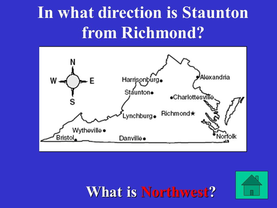 In what direction is Staunton from Richmond