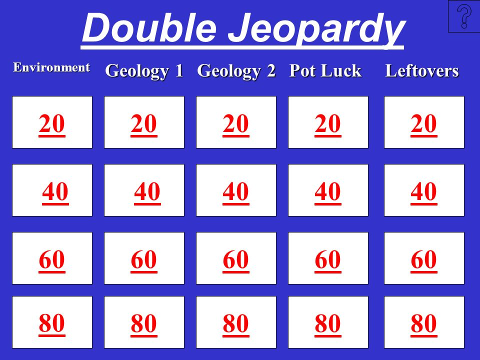 Double Jeopardy Environment. Geology 1. Geology 2. Pot Luck. Leftovers. 20. 20. 20. 20. 20.