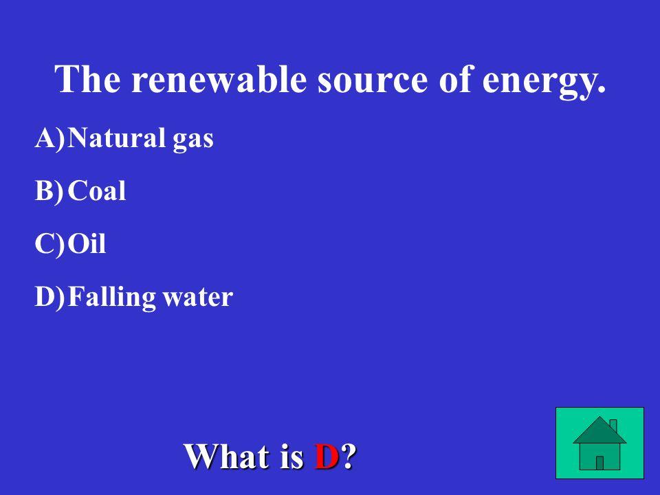The renewable source of energy.