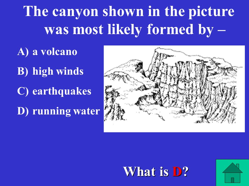 The canyon shown in the picture was most likely formed by –