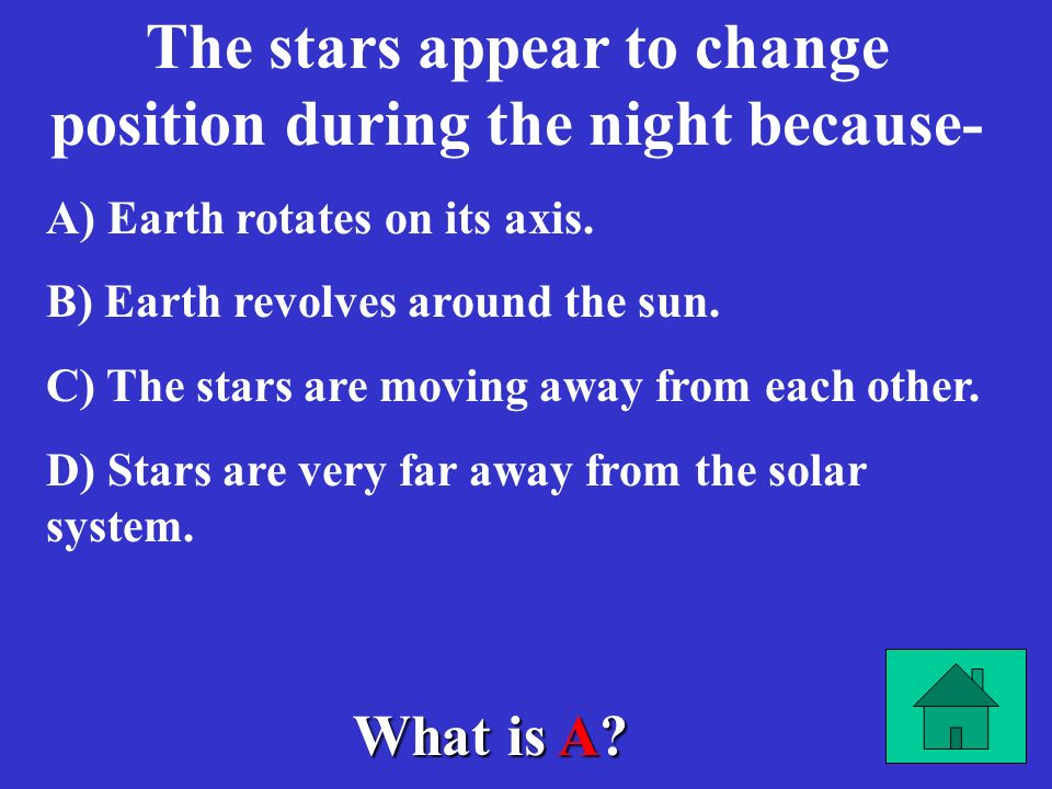The stars appear to change position during the night because-