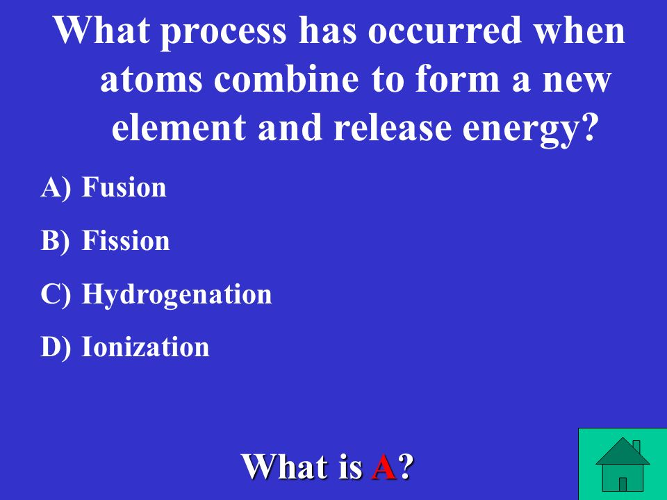 What process has occurred when atoms combine to form a new element and release energy