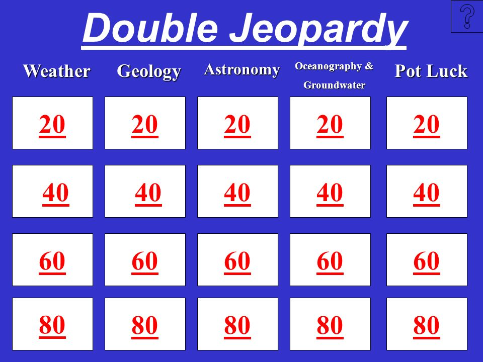 Double Jeopardy Weather. Geology. Astronomy. Oceanography & Groundwater. Pot Luck. 20. 20. 20.