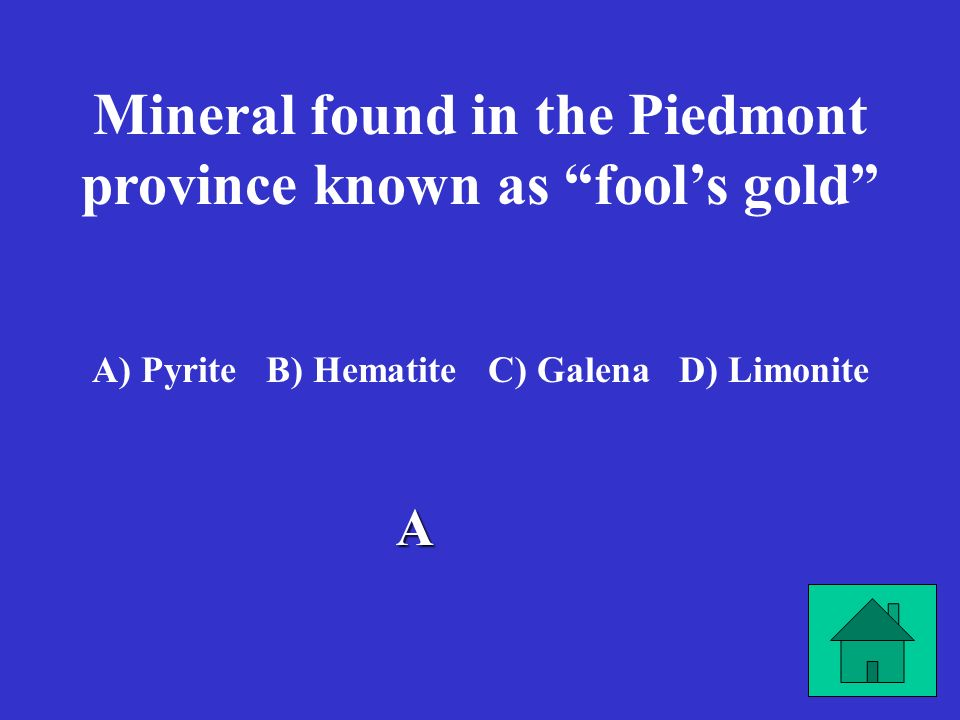 Mineral found in the Piedmont province known as fool's gold