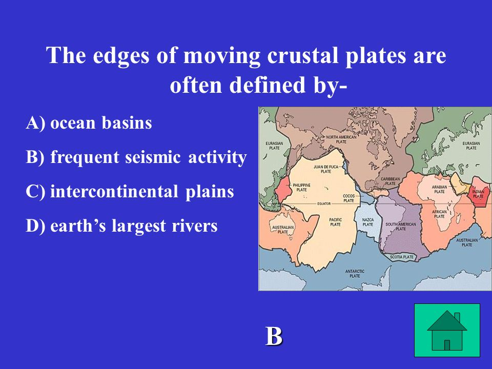 The edges of moving crustal plates are often defined by-