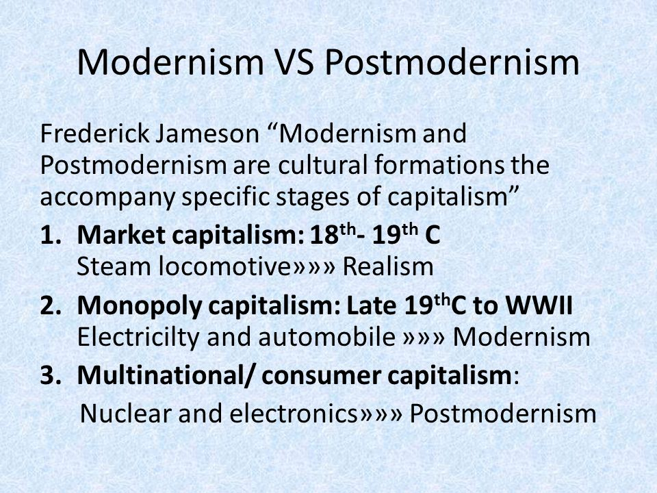 basic differences between modernism and postmodernism Ten basic principles of metamodernism metamodernism as a negotiation between modernism and postmodernism rather than seeing such differences as.