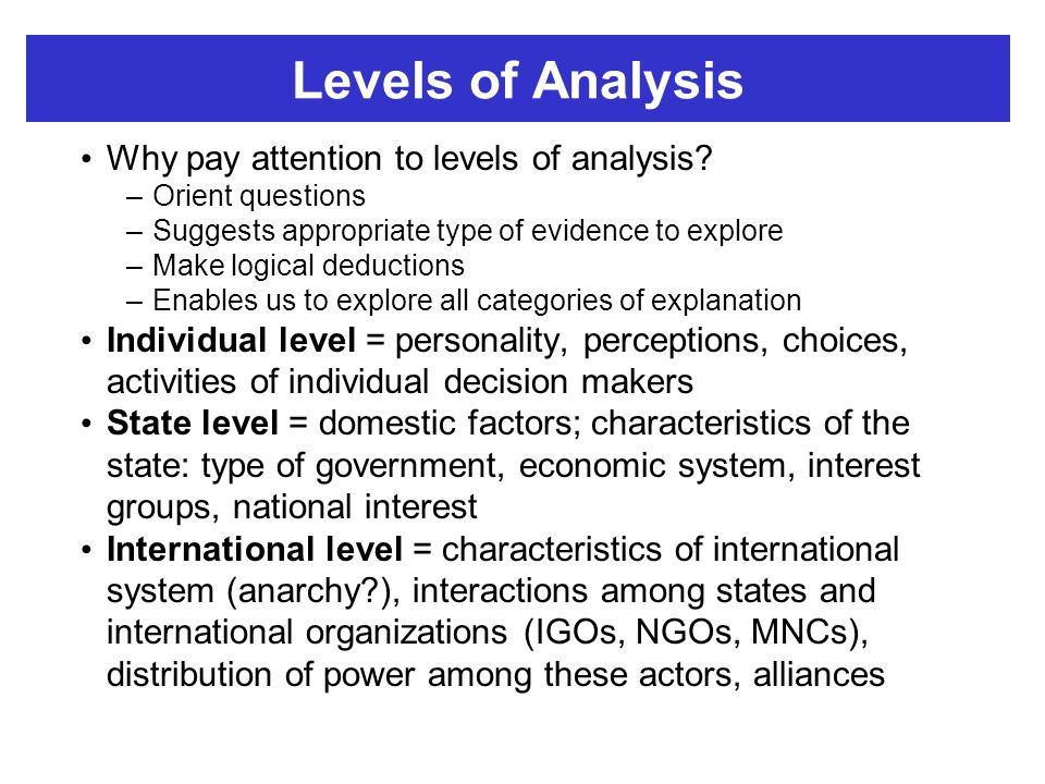 a look at three levels of analysis of the international relations Look, it's this simple: if you are a serious student of international relations, you  should read and know this book thoroughly waltz looks at three levels of  analysis:.