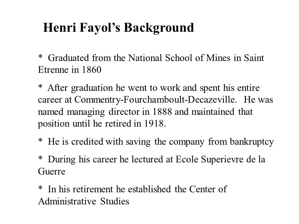 Henri Fayol's Background