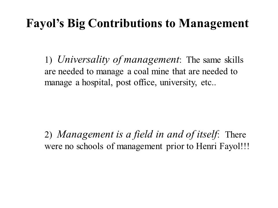 Fayol's Big Contributions to Management