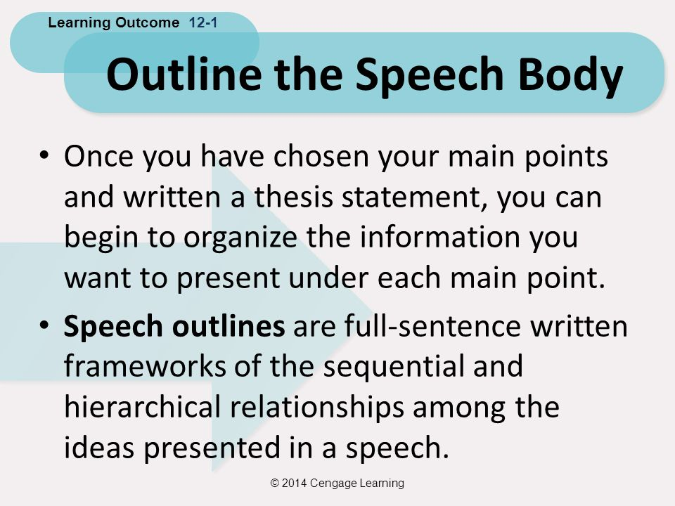 thesis in speech outline