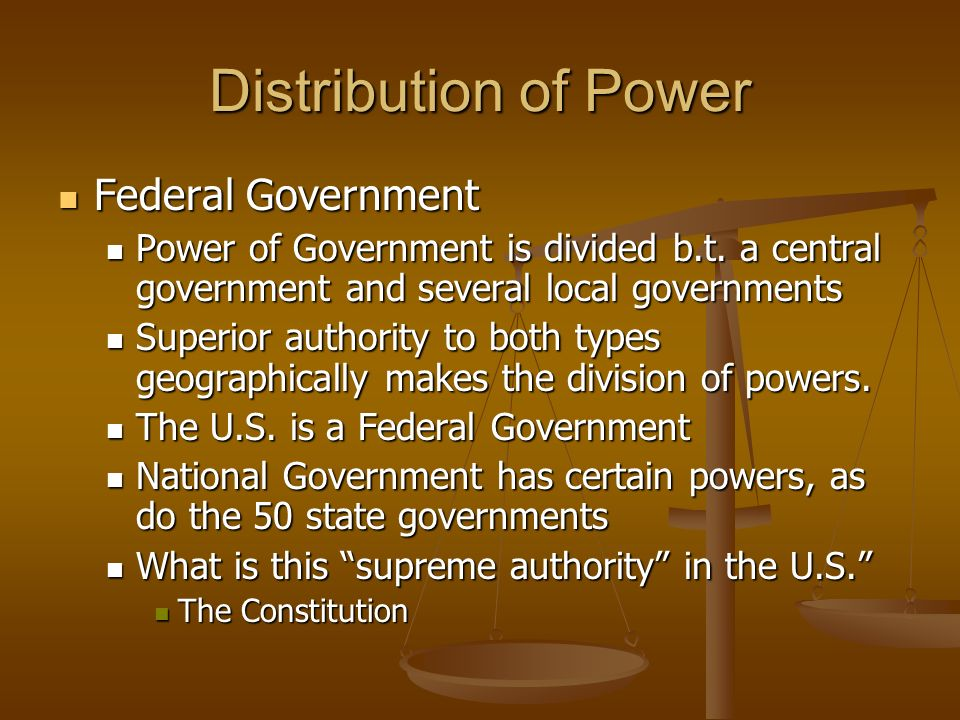Examples of u s federal government authority