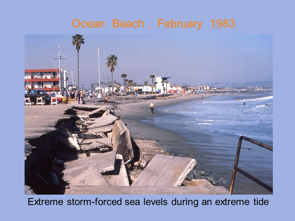 Ocean Beach , February 1983 Extreme storm-forced sea levels during an extreme tide