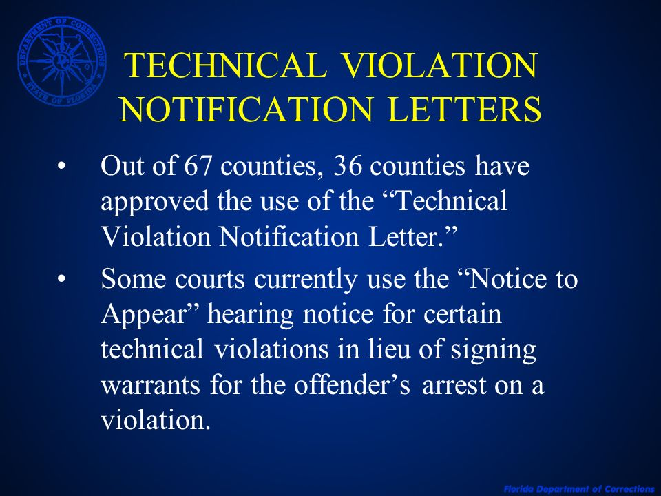 TECHNICAL VIOLATION NOTIFICATION LETTERS
