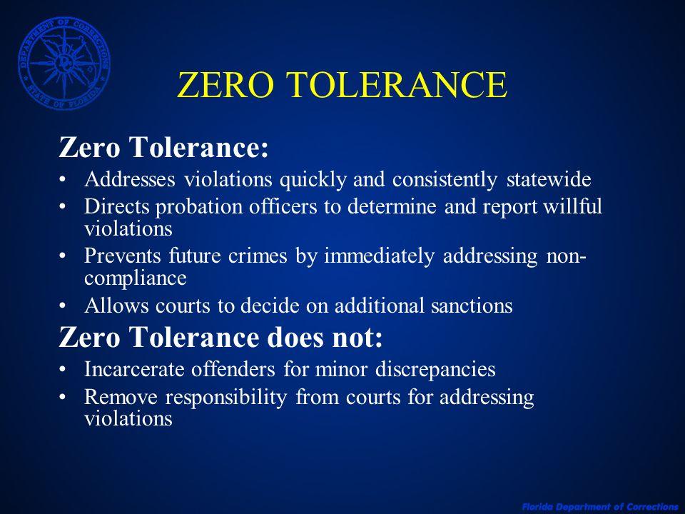 ZERO TOLERANCE Zero Tolerance: Zero Tolerance does not: