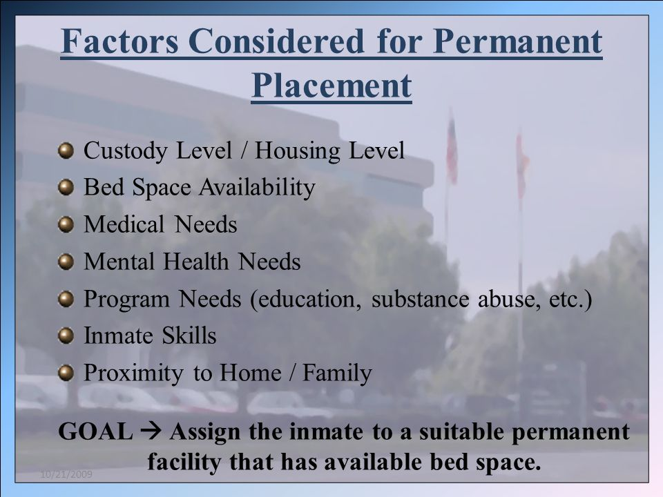 Factors Considered for Permanent Placement