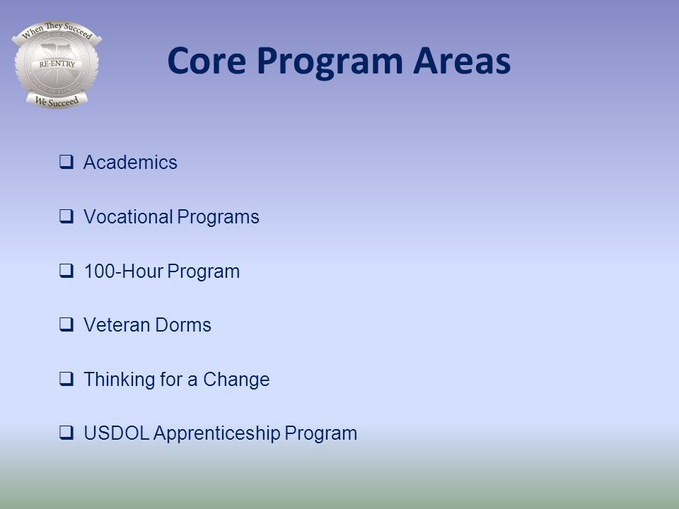 Core Program Areas Academics Vocational Programs 100-Hour Program
