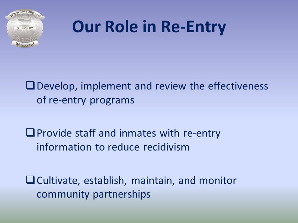 Our Role in Re-Entry Develop, implement and review the effectiveness of re-entry programs.