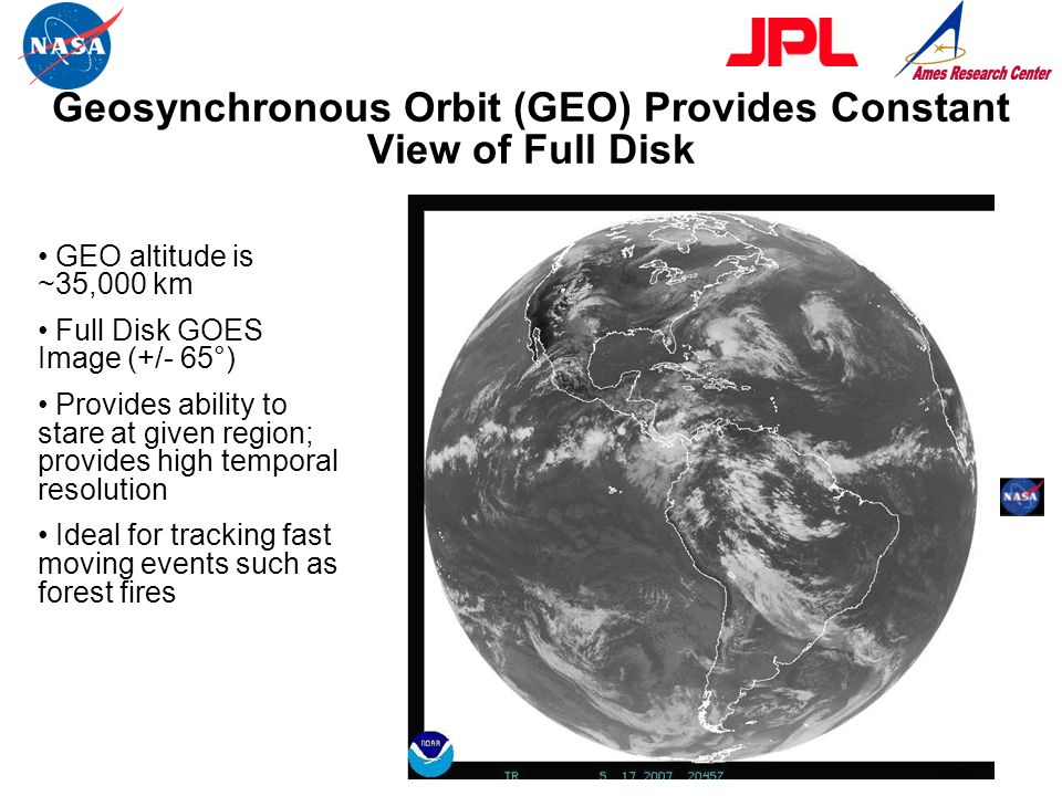 Geosynchronous Orbit (GEO) Provides Constant View of Full Disk