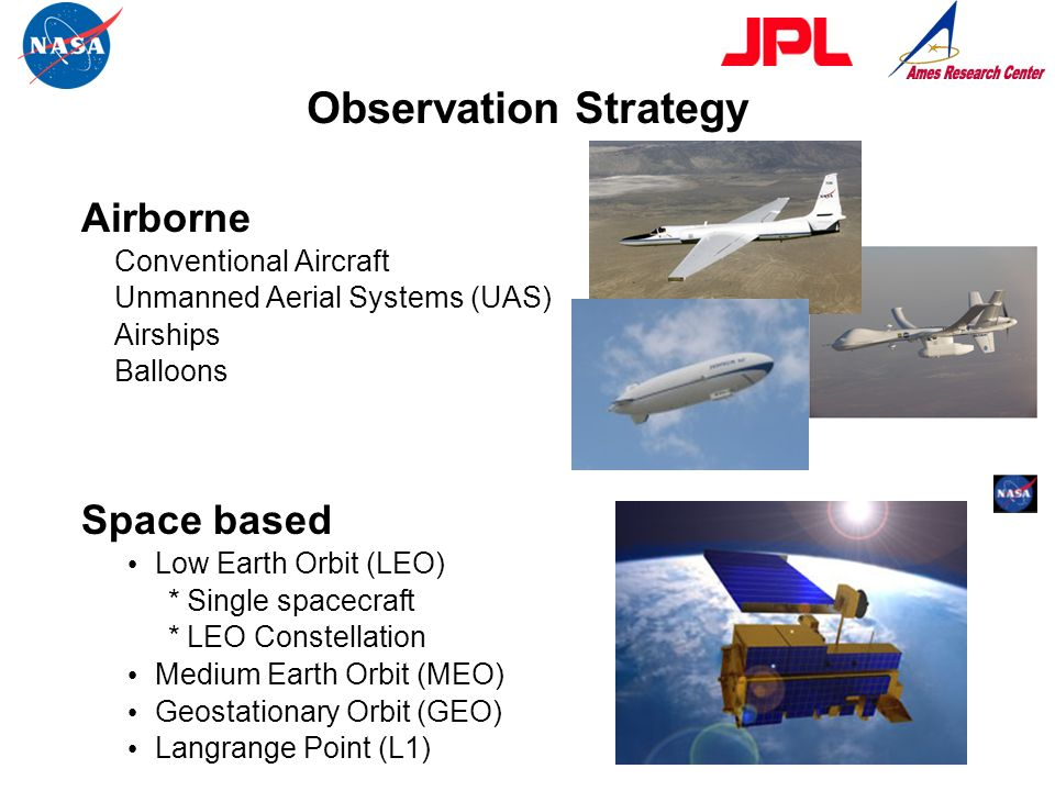Observation Strategy Airborne Space based Conventional Aircraft