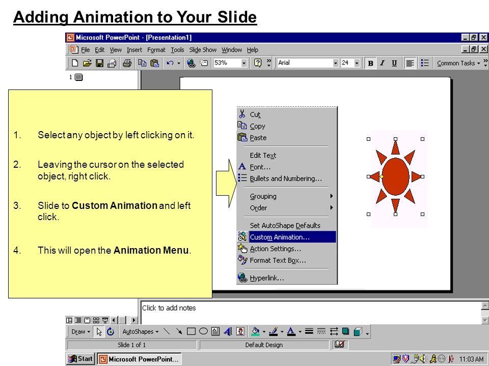 Animating the Objects on Your Slide