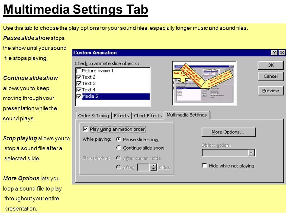 Multimedia Settings Tab